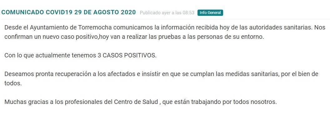 Tercer positivo por coronavirus (agosto 2020) - Torremocha (Cáceres)