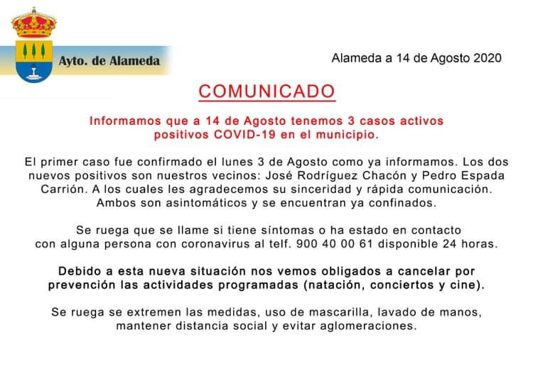 Tres positivos por coronavirus (agosto 2020) - Alameda (Málaga)