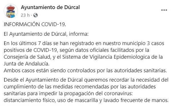 Tres positivos por coronavirus (agosto 2020) - Dúrcal (Granada)