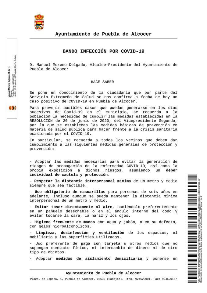 Un caso positivo por COVID-19 agosto 2020 - Puebla de Alcocer (Badajoz) 1