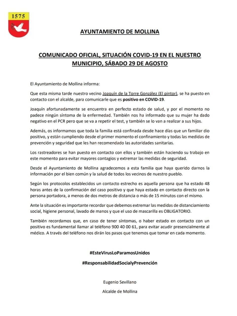 Un nuevo caso positivo de COVID-19 (agosto 2020) - Mollina (Málaga)