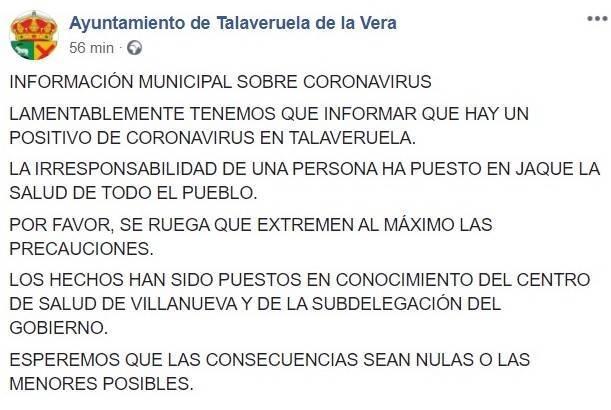 Un positivo por coronavirus (agosto 2020) - Talaveruela de la Vera (Cáceres)