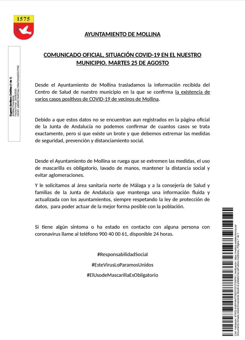Varios casos positivos de COVID-19 (agosto 2020) - Mollina (Málaga)