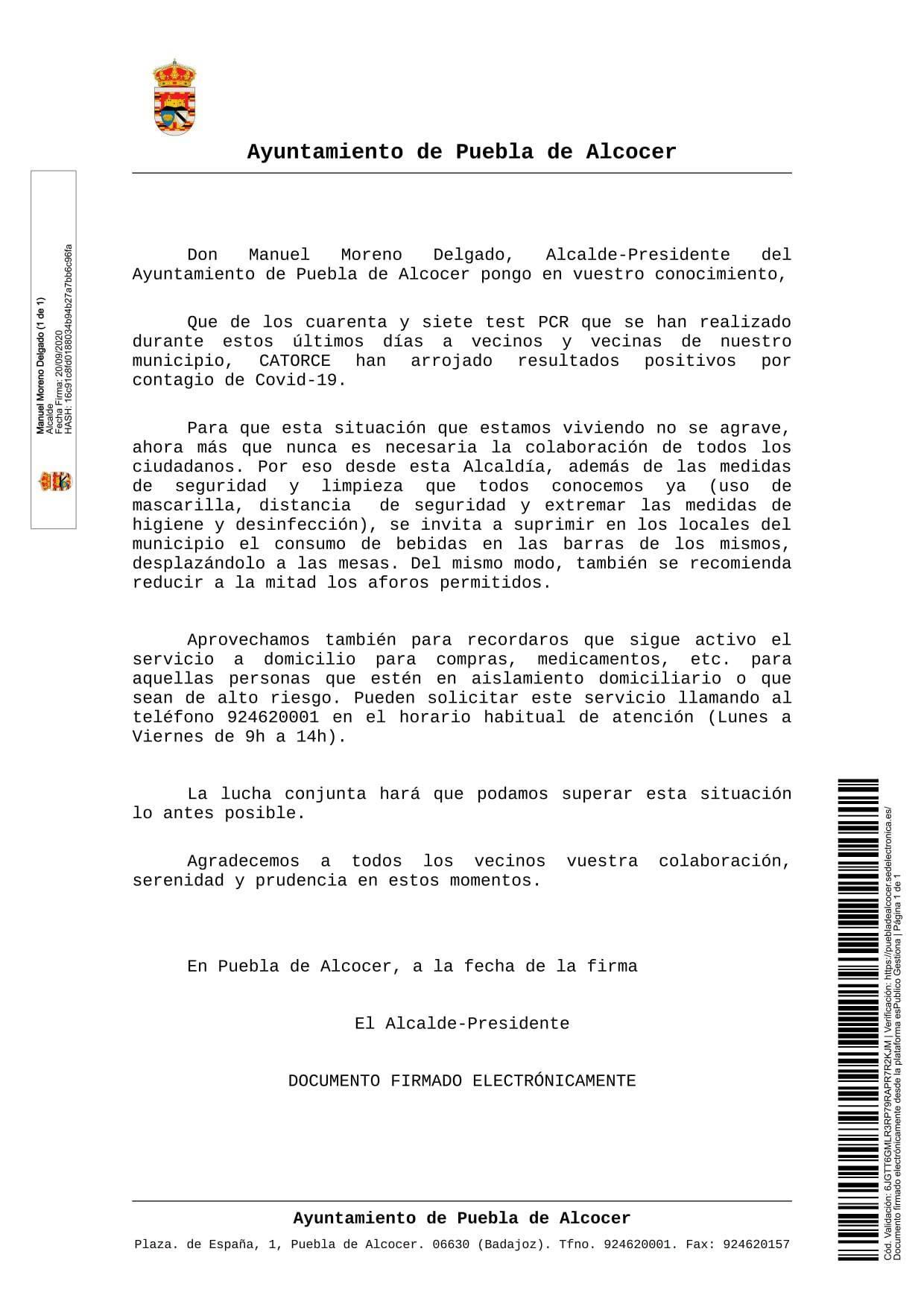 14 casos activos de COVID-19 (septiembre 2020) - Puebla de Alcocer (Badajoz)