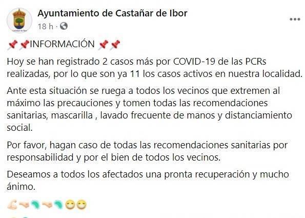 Dos nuevos casos de COVID-19 (septiembre 2020) - Castañar de Ibor (Cáceres)