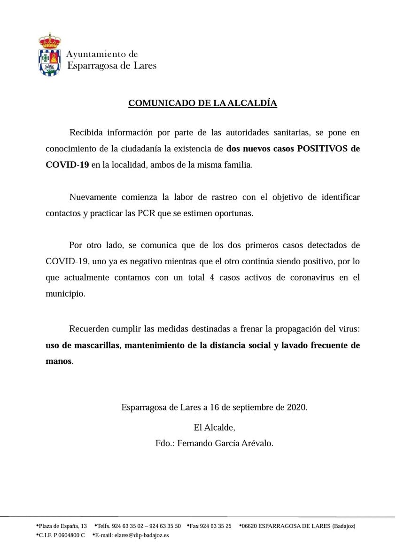Dos nuevos positivos por coronavirus (septiembre 2020) - Esparragosa de Lares (Badajoz)