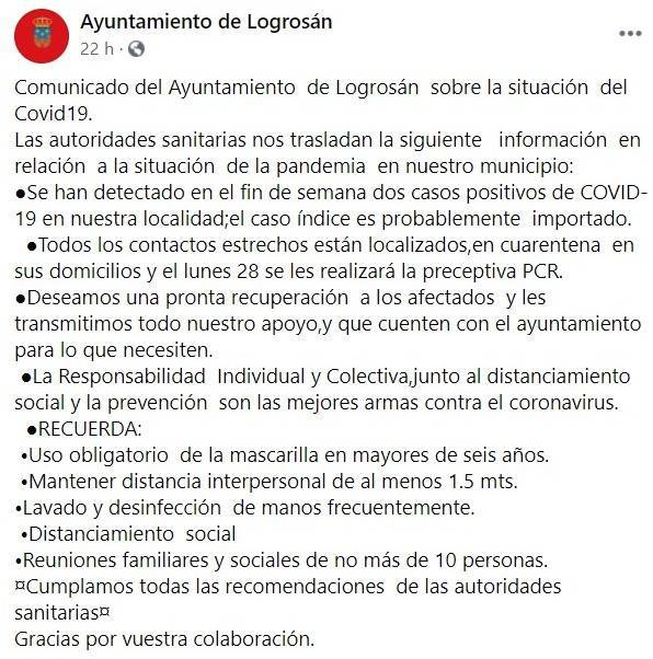 Dos nuevos positivos por coronavirus (septiembre 2020) - Logrosán (Cáceres)