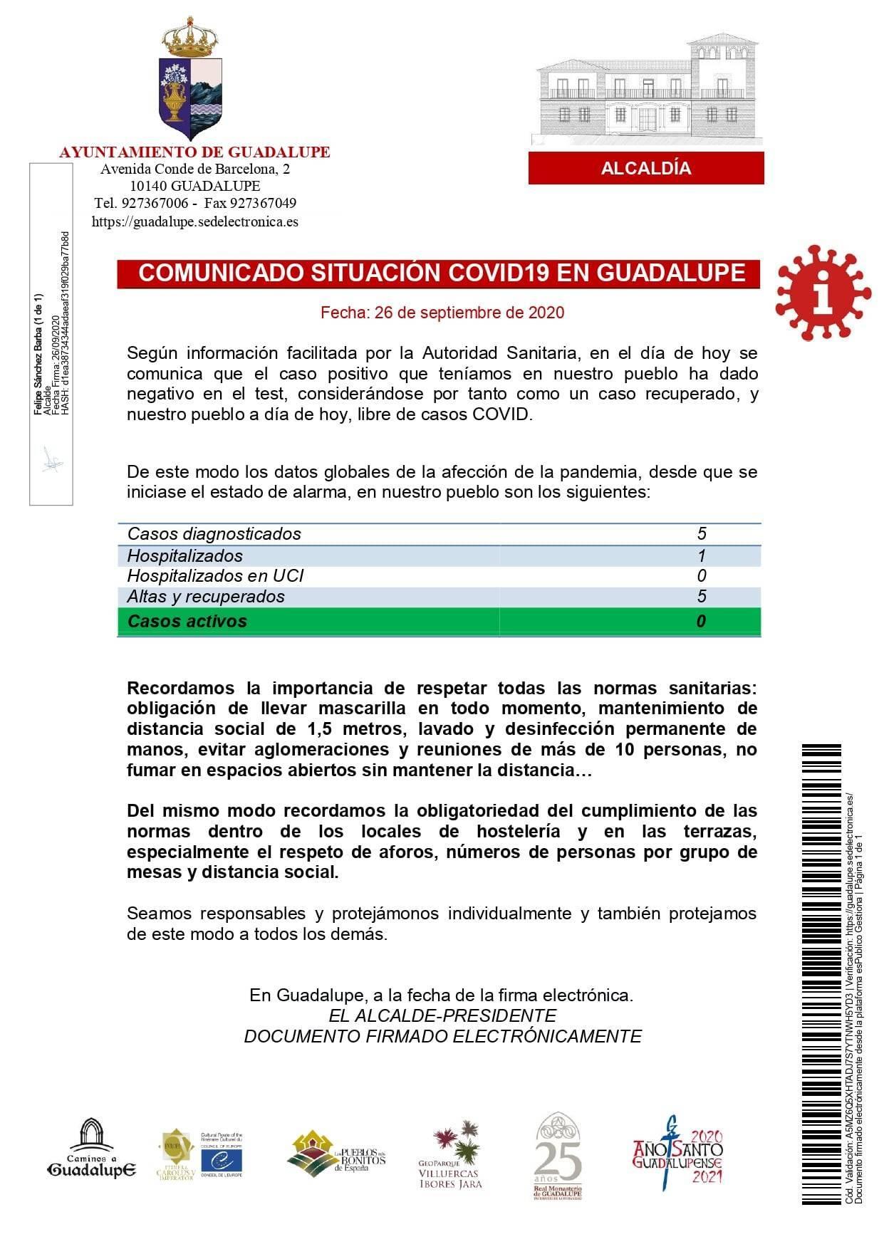 Ningún caso activo de COVID-19 (septiembre 2020) - Guadalupe (Cáceres)