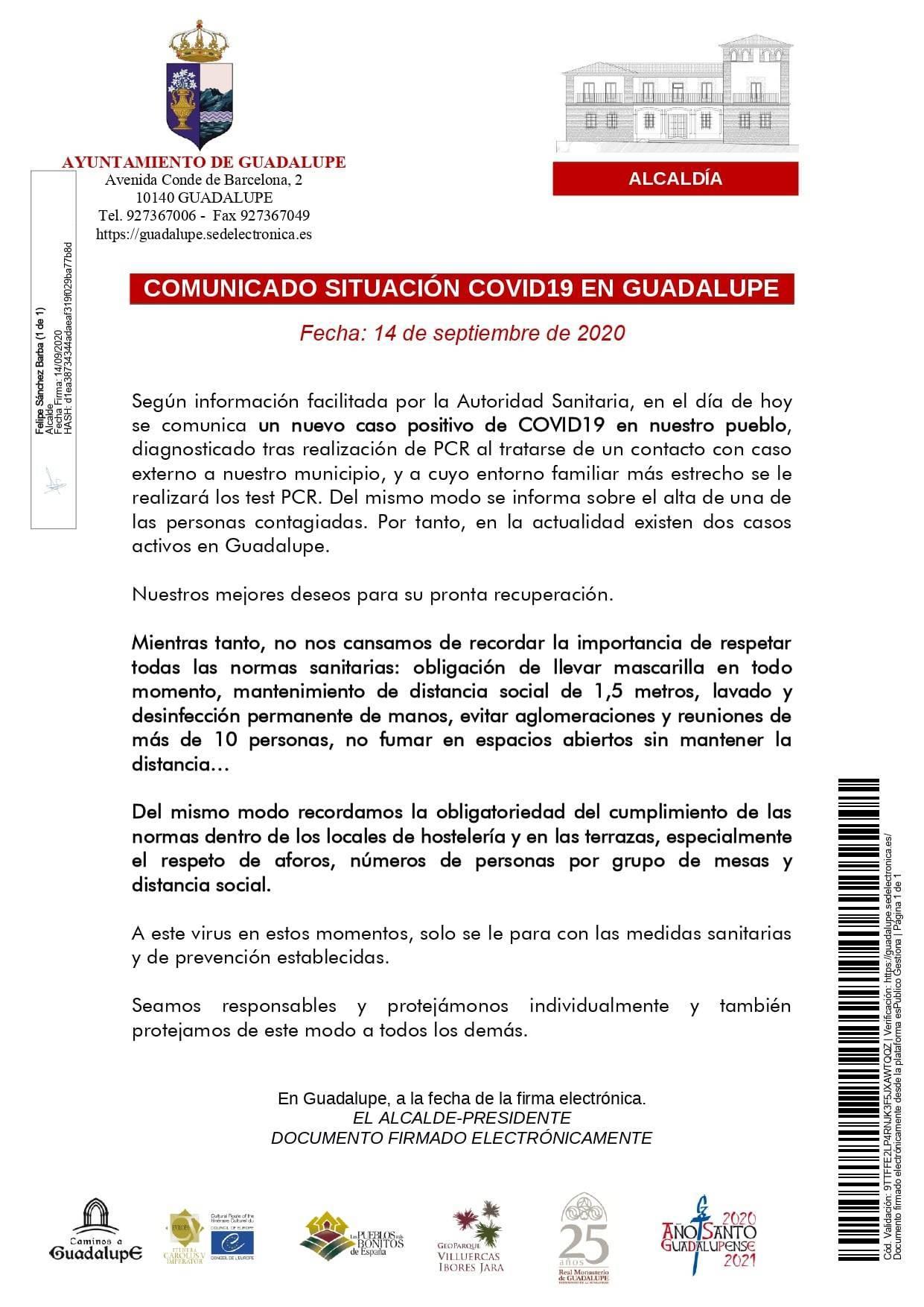Nuevo caso positivo de COVID-19 (septiembre 2020) - Guadalupe (Cáceres)