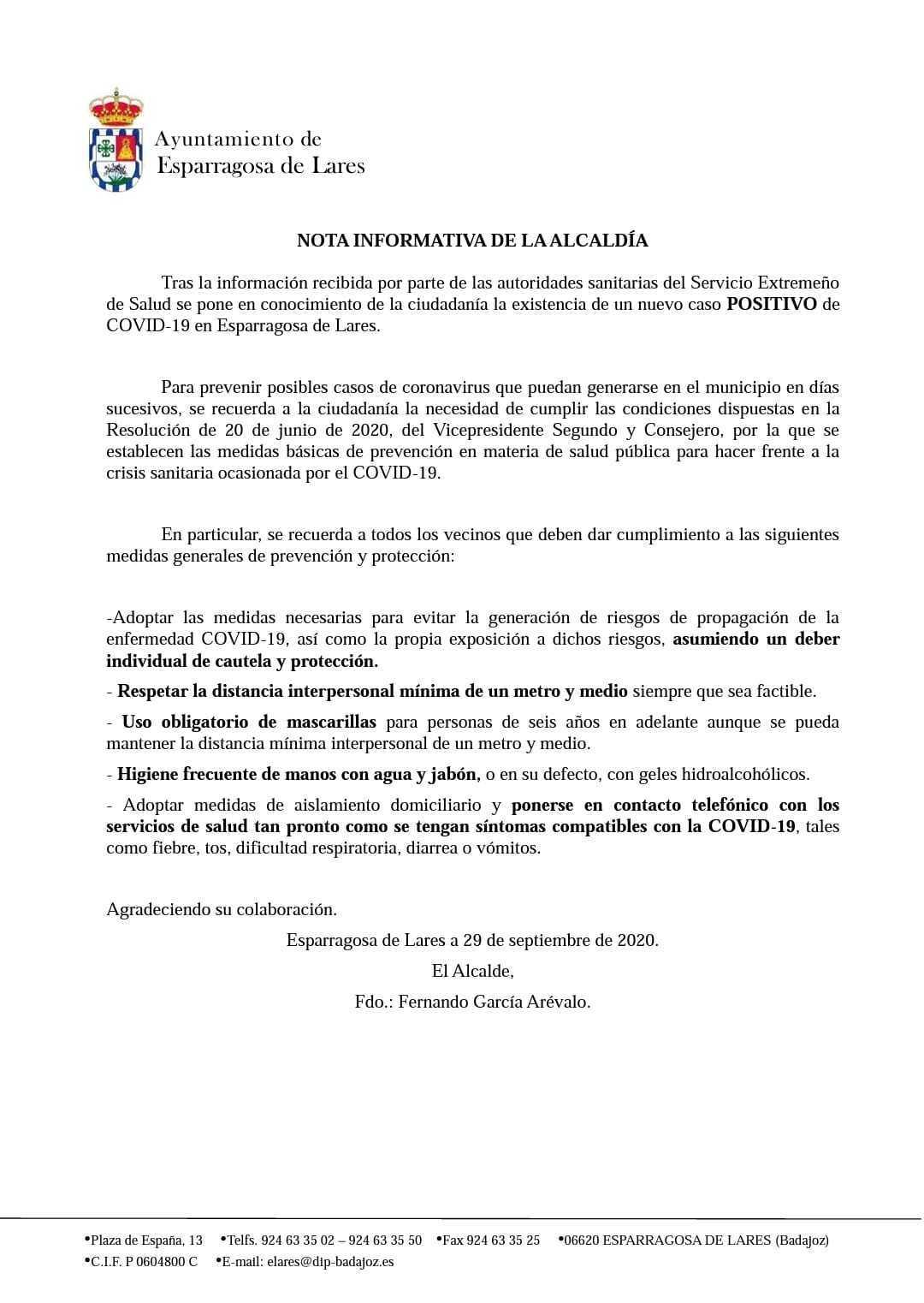 Nuevo positivo por coronavirus (septiembre 2020) - Esparragosa de Lares (Badajoz)