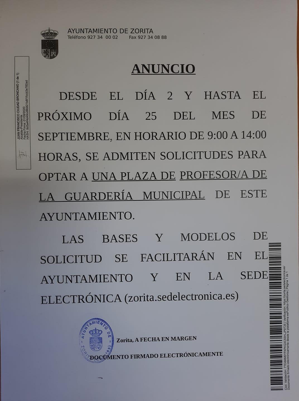 Profesor-a para la guardería municipal (2020) - Zorita (Cáceres)