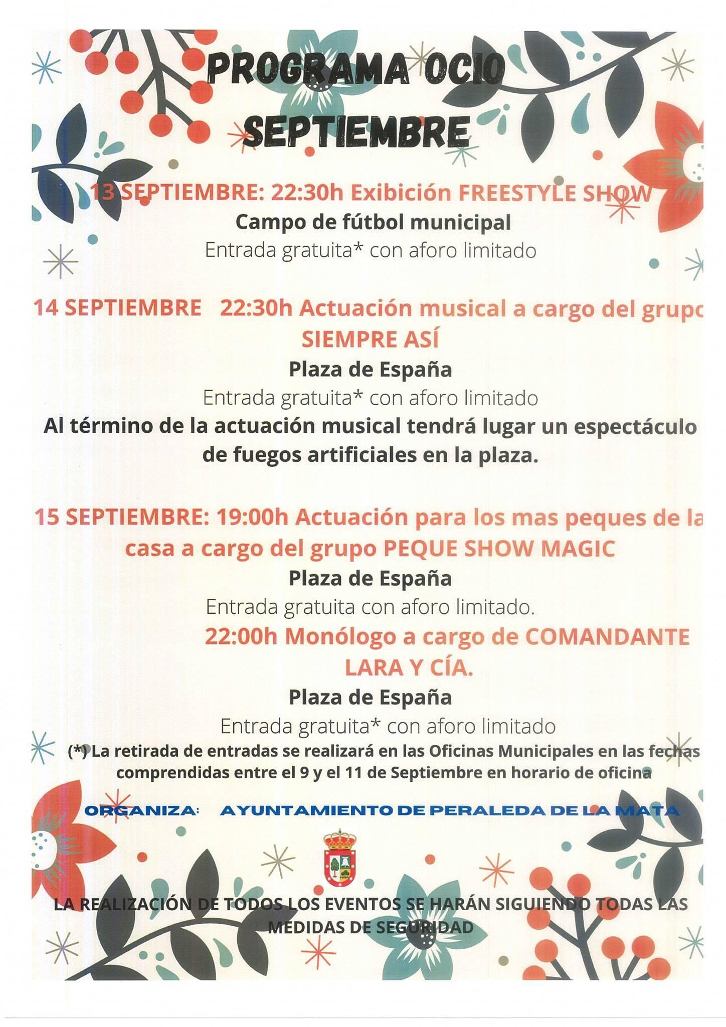 Programa de ocio (septiembre 2020) - Peraleda de la Mata (Cáceres)