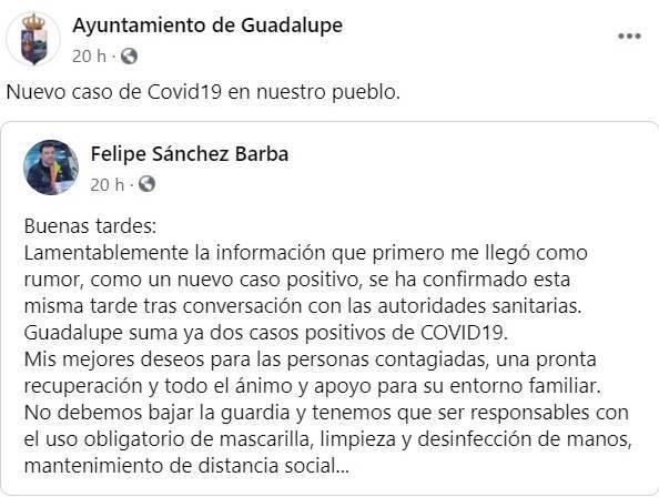 Segundo positivo por coronavirus (septiembre 2020) - Guadalupe (Cáceres)