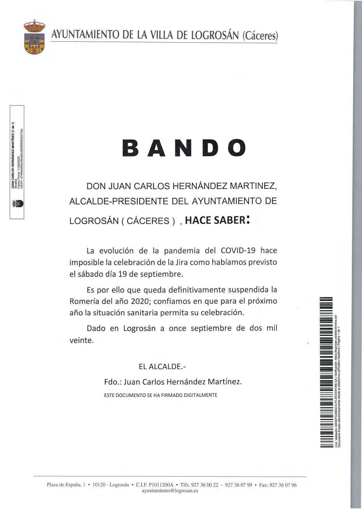 Suspensión definitiva de la Jira (2020) - Logrosán (Cáceres)