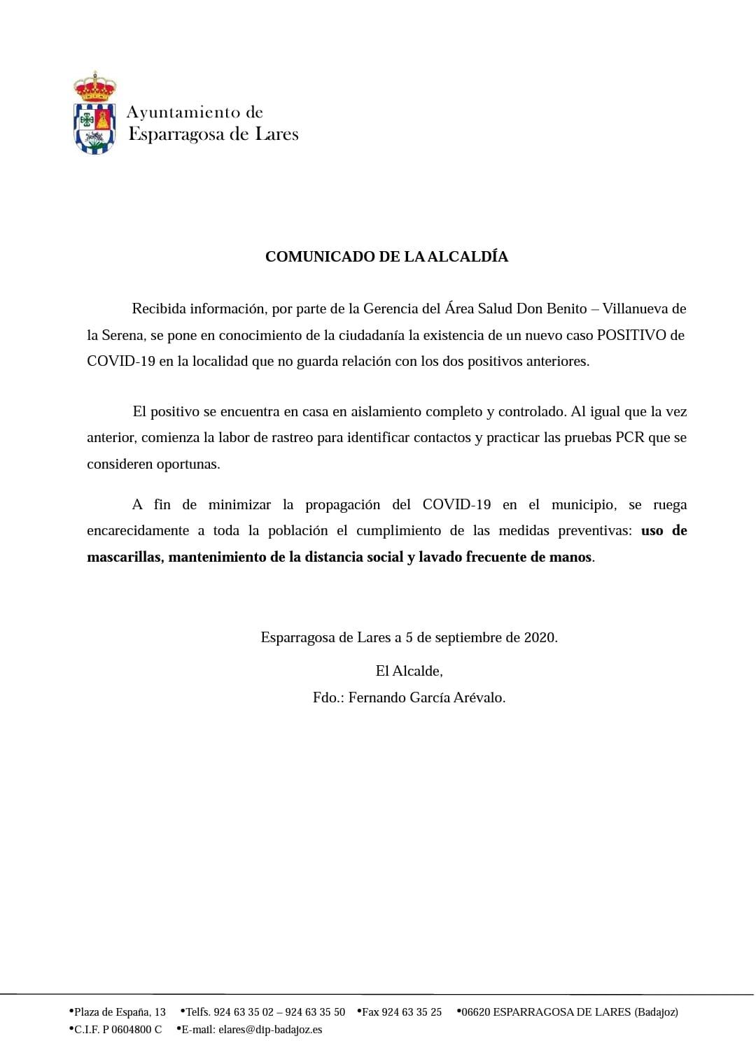 Tercer positivo por coronavirus (septiembre 2020) - Esparragosa de Lares (Badajoz)