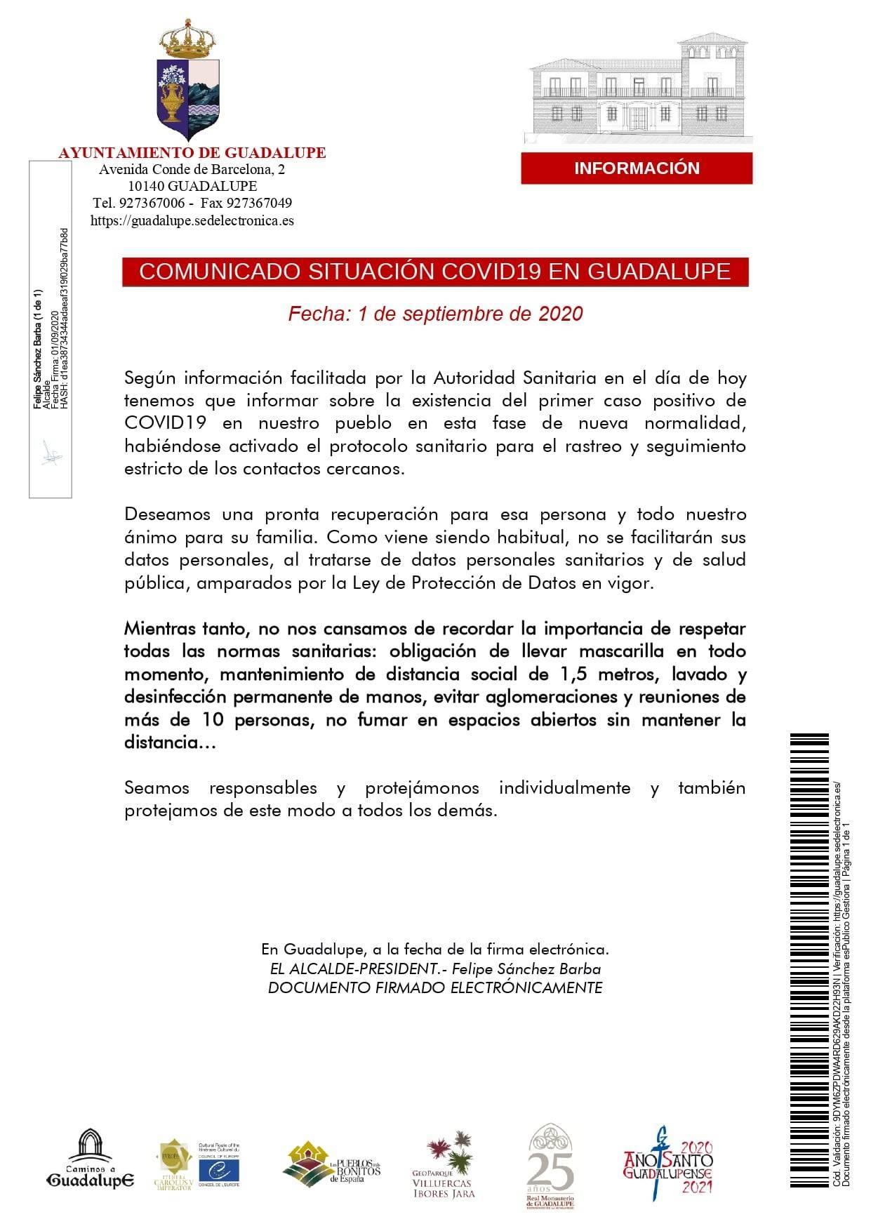 Un positivo por coronavirus (septiembre 2020) - Guadalupe (Cáceres)