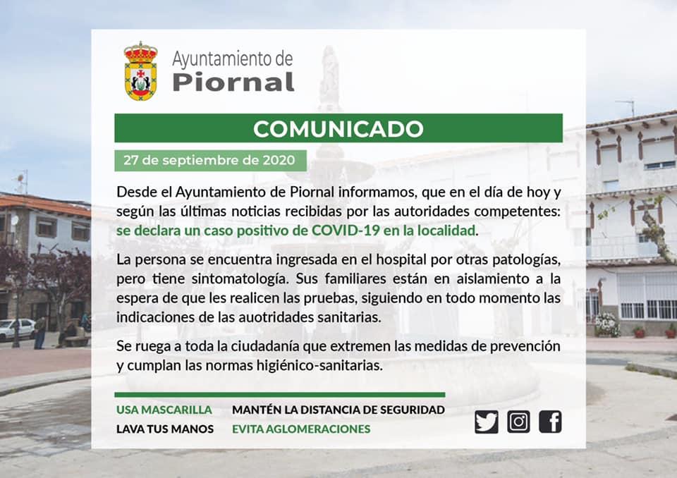 Un positivo por coronavirus (septiembre 2020) - Piornal (Cáceres)