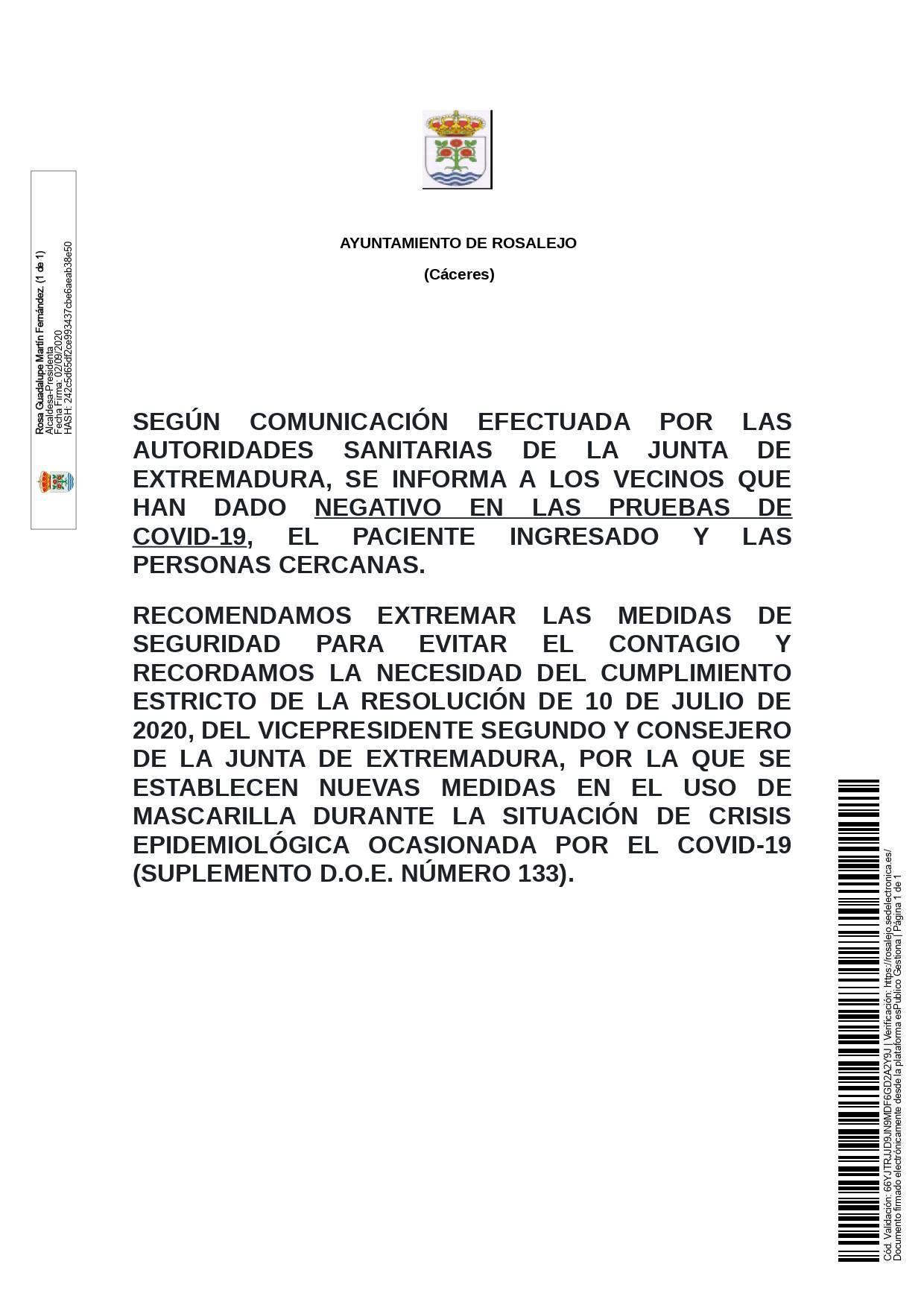 Un recuperado por coronavirus (septiembre 2020) - Rosalejo (Cáceres)