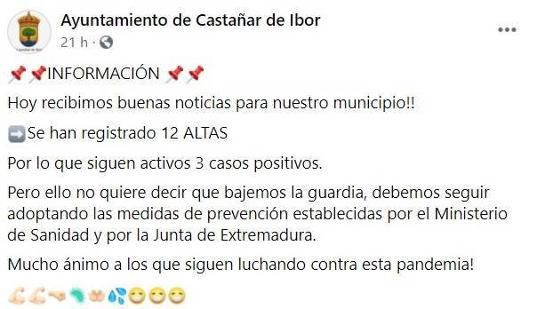 12 altas de COVID-19 (octubre 2020) - Castañar de Ibor (Cáceres)