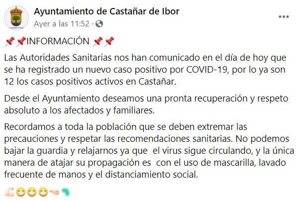 12 casos activos de COVID-19 (septiembre 2020) - Castañar de Ibor (Cáceres)