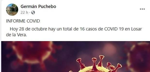 16 casos activos de COVID-19 (octubre 2020) - Losar de la Vera (Cáceres)