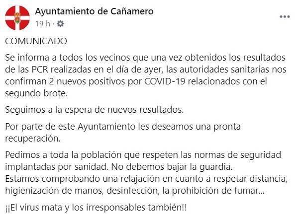 2 nuevos casos del segundo brote de COVID-19 (octubre 2020) - Cañamero (Cáceres)