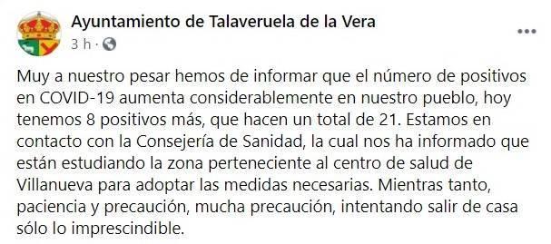 21 casos activos de COVID-19 (octubre 2020) - Talaveruela de la Vera (Cáceres)