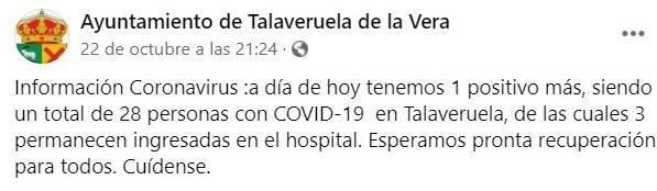 28 casos activos de COVID-19 (octubre 2020) - Talaveruela de la Vera (Cáceres)