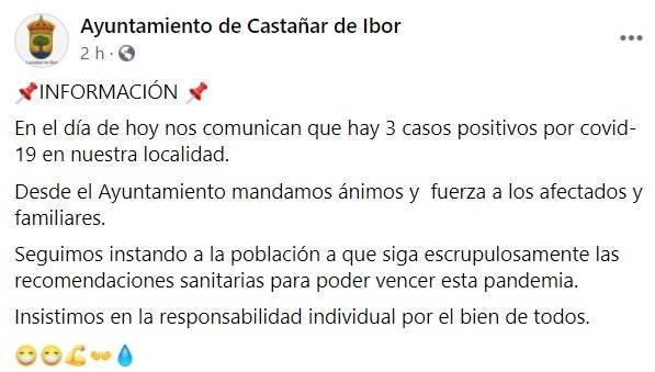 3 nuevos casos de COVID-19 (octubre 2020) - Castañar de Ibor (Cáceres)