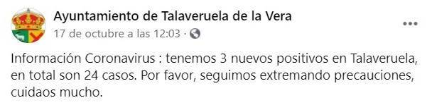 3 nuevos positivos por coronavirus (octubre 2020) - Talaveruela de la Vera (Cáceres)