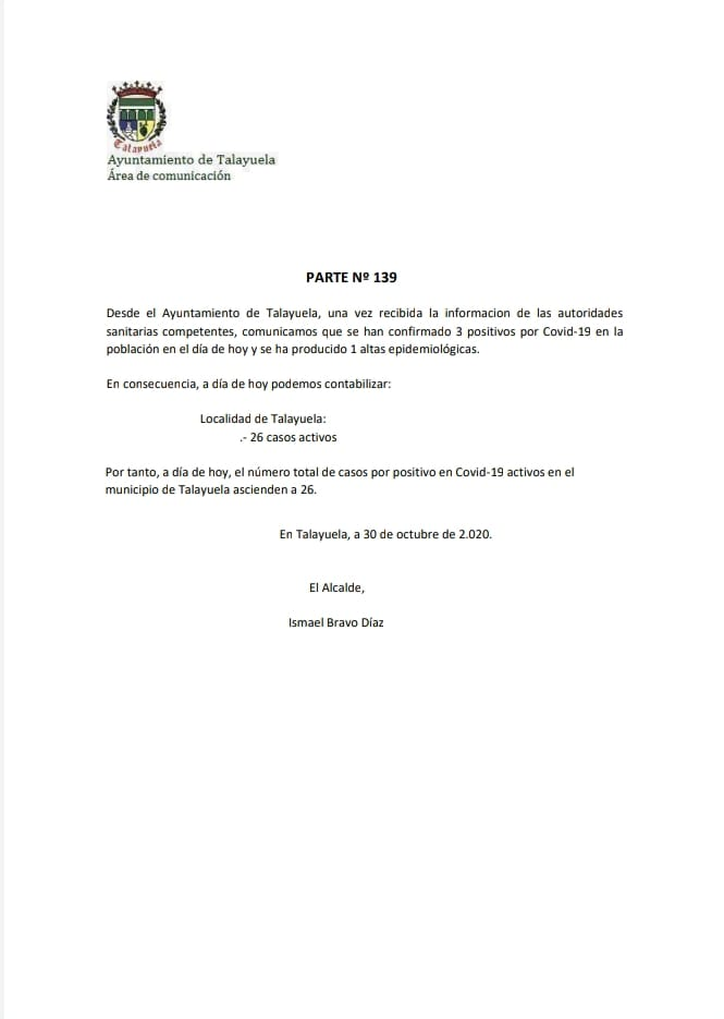 3 nuevos positivos por coronavirus (octubre 2020) - Talayuela (Cáceres)