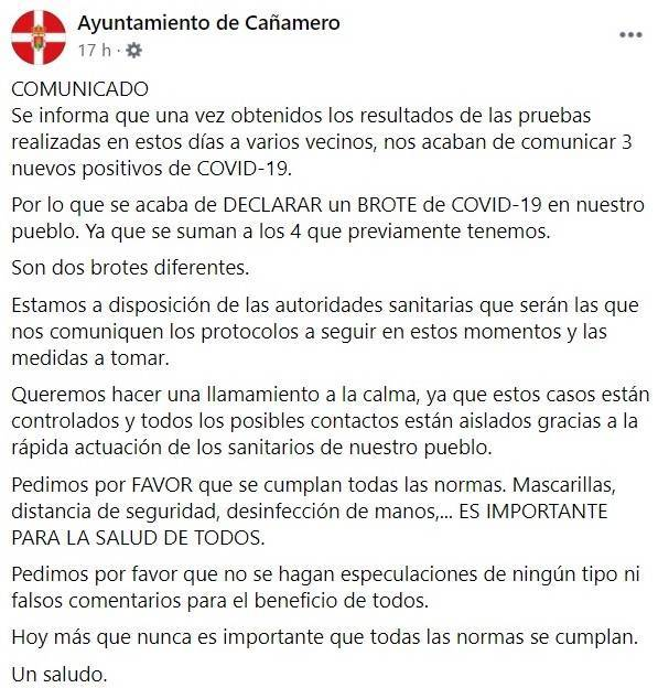 3 nuevos positivos y nuevo brote de COVID-19 (octubre 2020) - Cañamero (Cáceres)