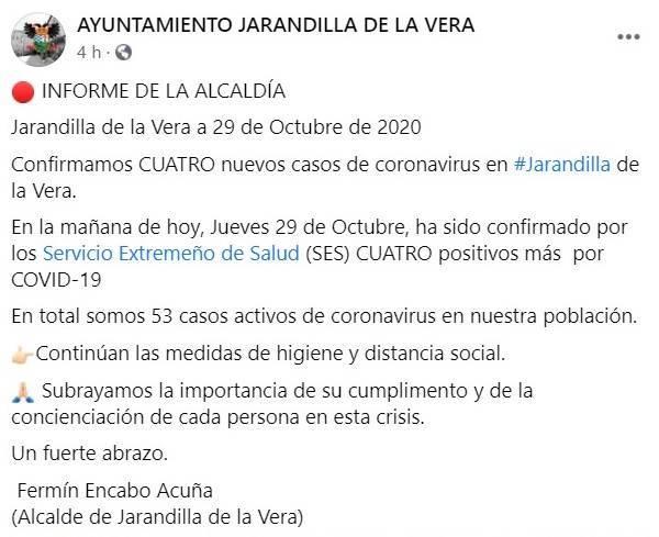 53 casos activos de COVID-19 (octubre 2020) - Jarandilla de la Vera (Cáceres)