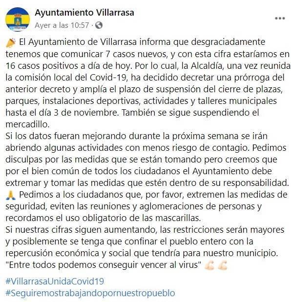 7 nuevos casos positivos de COVID-19 (octubre 2020) - Villarrasa (Huelva)