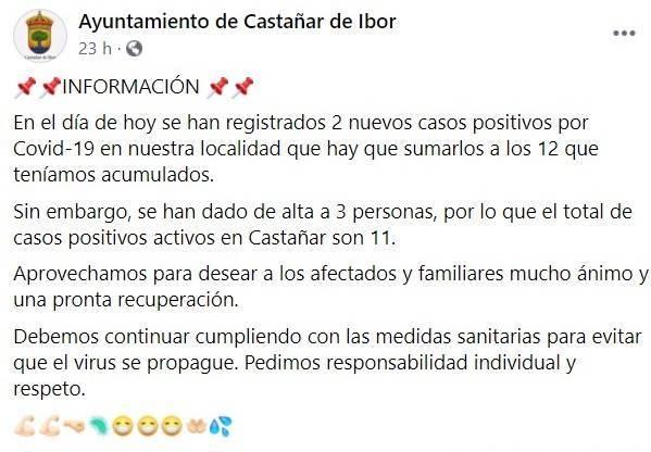 7 nuevos positivos por coronavirus (octubre 2020) - Castañar de Ibor (Cáceres) 1