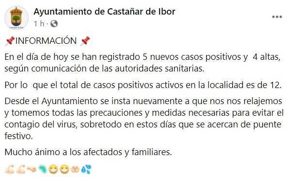 7 nuevos positivos por coronavirus (octubre 2020) - Castañar de Ibor (Cáceres) 2