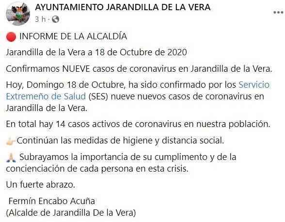 9 nuevos positivos por coronavirus (octubre 2020) - Jarandilla de la Vera (Cáceres)