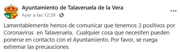 Cinco casos de COVID-19 (octubre 2020) - Talaveruela de la Vera (Cáceres) 1