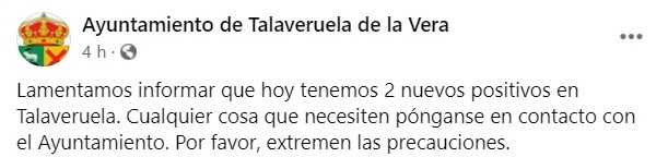 Cinco casos de COVID-19 (octubre 2020) - Talaveruela de la Vera (Cáceres) 2