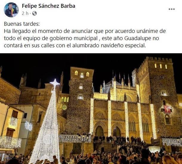 No habrá alumbrado navideño especial (2020) - Guadalupe (Cáceres)