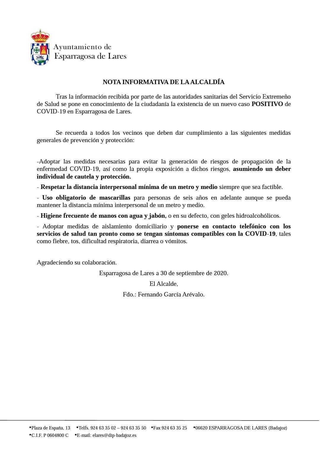 Nuevo caso de COVID-19 (septiembre 2020) - Esparragosa de Lares (Badajoz)