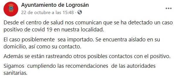 Nuevo caso positivo de COVID-19 (octubre 2020) - Logrosán (Cáceres)