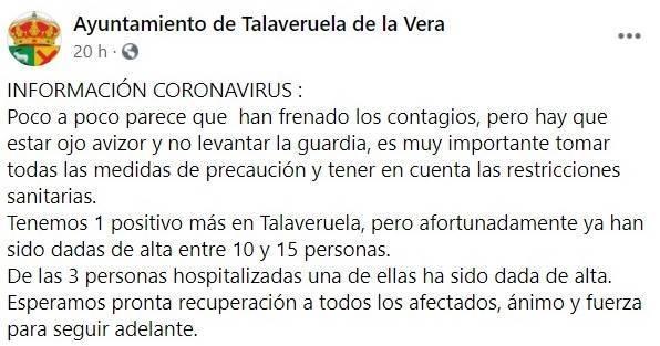 Nuevo positivo por coronavirus (octubre 2020) - Talaveruela de la Vera (Cáceres)