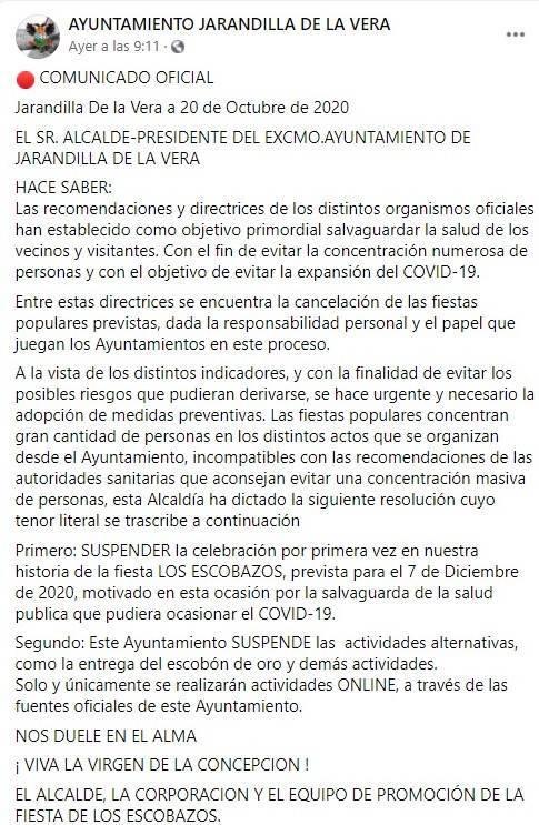 Se suspenden Los Escobazos (2020) - Jarandilla de la Vera (Cáceres)