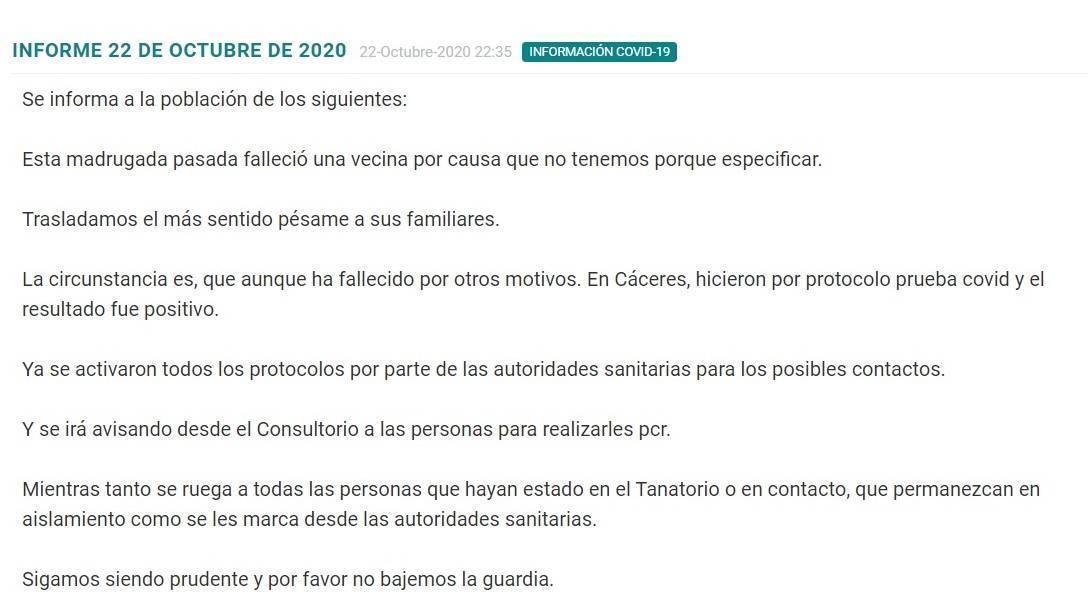 Un fallecido por COVID-19 (octubre 2020) - Madrigalejo (Cáceres)