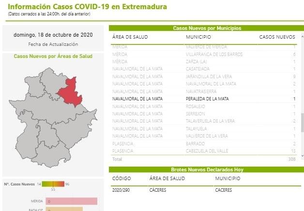 Un nuevo positivo por coronavirus (octubre 2020) - Peraleda de la Mata (Cáceres)