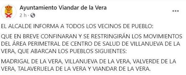 Varios municipios de La Vera se confinarán (octubre 2020)