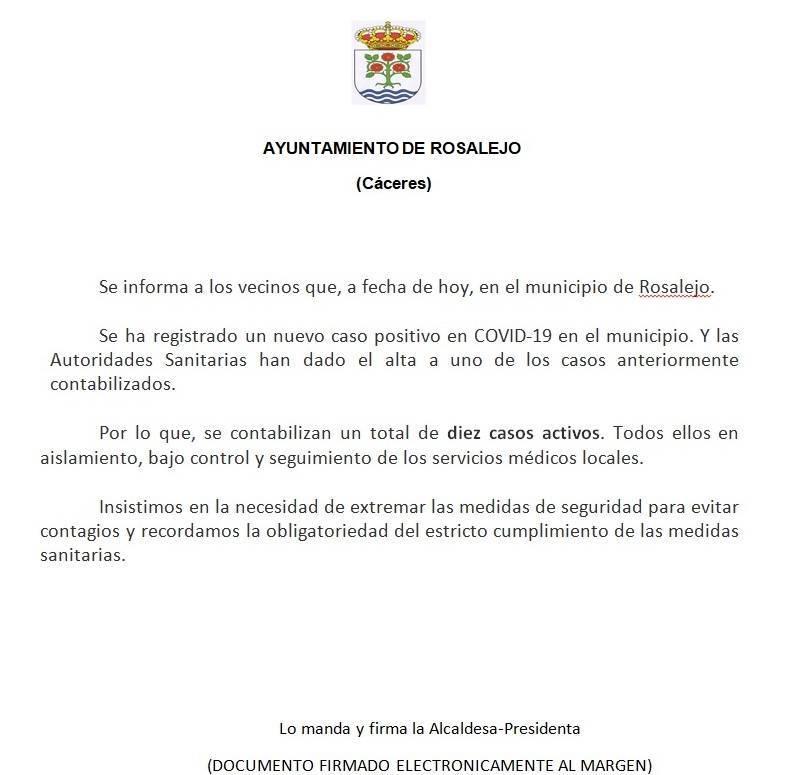 10 casos activos de COVID-19 (noviembre 2020) - Rosalejo (Cáceres)