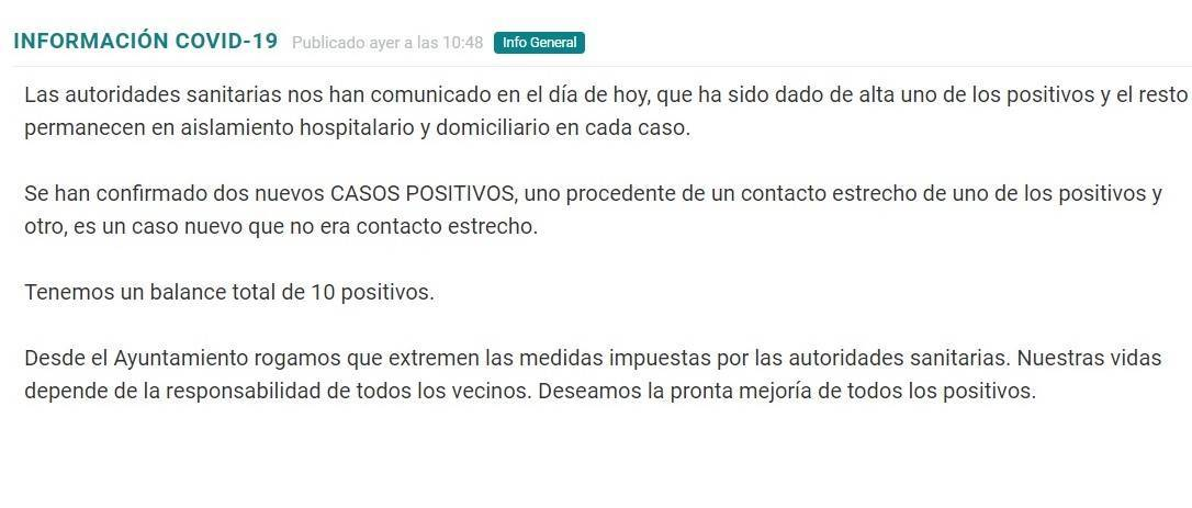 10 casos positivos activos de COVID-19 (noviembre 2020) - Torremocha (Cáceres)