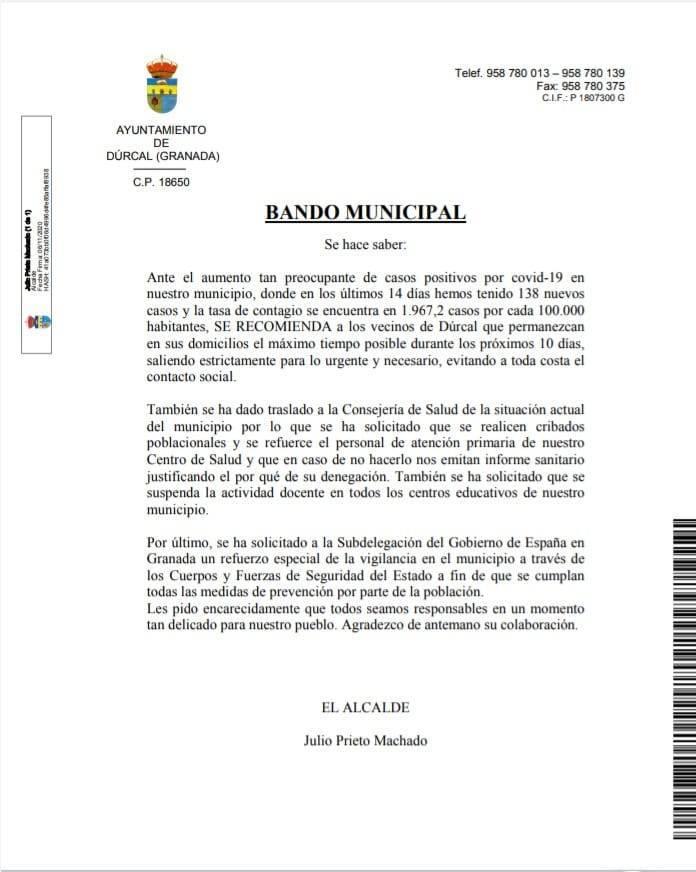 138 nuevos casos positivos de COVID-19 (noviembre 2020) - Dúrcal (Granada)
